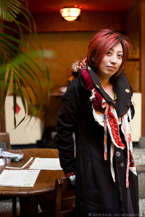 Interior designer Haruko Masuda in a restaurant in Azabu Juban area of Tokyo.