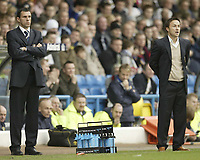 Photo: Aidan Ellis.<br /> Leeds United v Luton Town. Coca Cola Championship. 10/03/2007.<br /> Leeds manager Dennis Wise (R) and assistant Gus Poyet watch the game with some concern as Leeds have all the play in the first half but fail to score