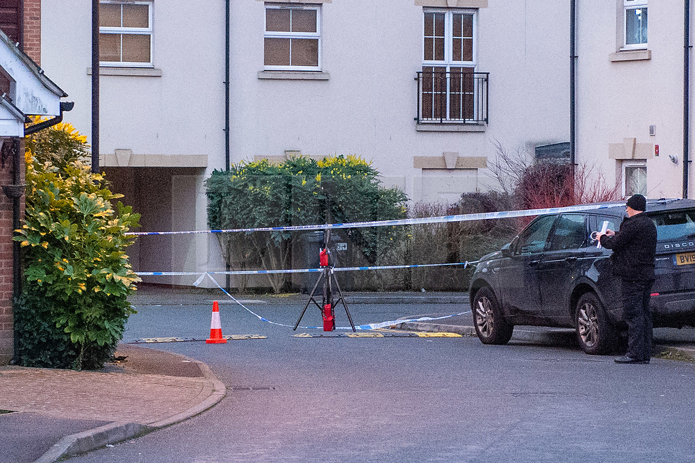 © Licensed to London News Pictures. 05/01/2020. Slough, UK. Police tape and equipment inside a cordon in Slough at a suspected murder scene, local residents reported that a teenage boy was stabbed on the evening of Saturday 4th January and rushed to Wexham Park hospital where he later died. Photo credit: Peter Manning/LNP