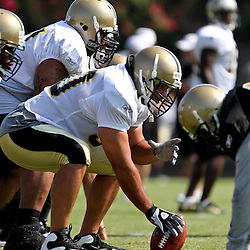 August 6, 2011; Metairie, LA, USA; New Orleans Saints center Olin Kreutz (50) during training camp practice at the New Orleans Saints practice facility. Mandatory Credit: Derick E. Hingle