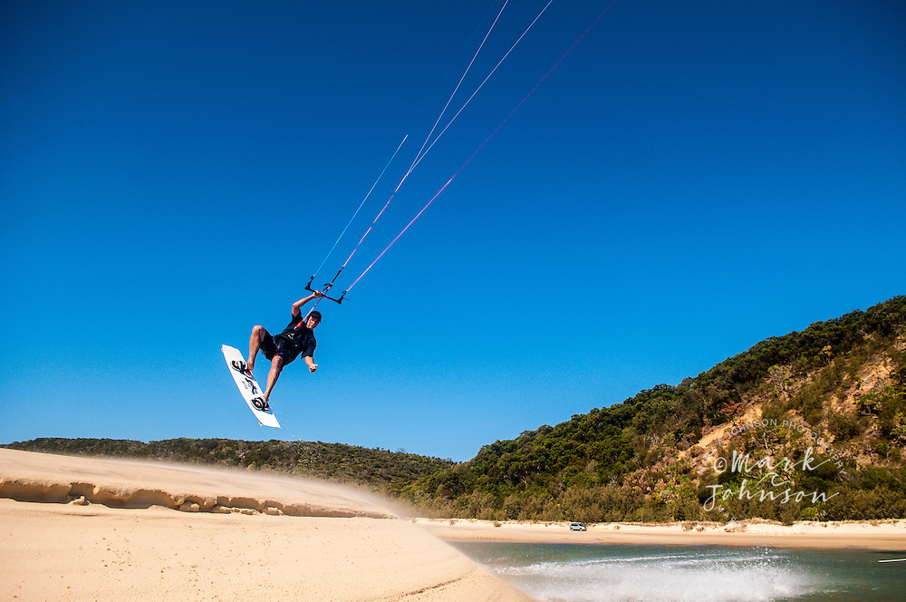 Kitesurfing at Double Island Point, Queensland, Australia
