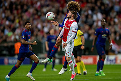 24-05-2017 SWE: Final Europa League AFC Ajax - Manchester United, Stockholm<br /> Finale Europa League tussen Ajax en Manchester United in het Friends Arena te Stockholm / Lasse Sch&ouml;ne #20 of Ajax, Marouane Fellaini #20 of Manchester United