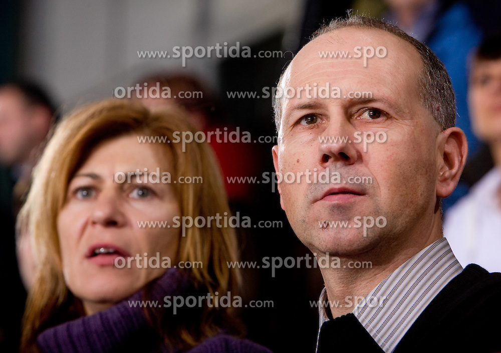 Tanja Polajnar, Bojan Petan at handball match of Round 5 of Champions League between RK Krim Mercator and Metz Handball, France, on January 9, 2010 in Kodeljevo, Ljubljana, Slovenia. (Photo by Vid Ponikvar / Sportida)