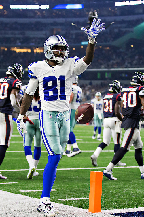 ARLINGTON, TX - SEPTEMBER 3:  Clyde Gates #81 of the Dallas Cowboys drops the ball after getting a first down during a preseason game against the Houston Texans at AT&T Stadium on September 3, 2015 in Arlington, Texas.  (Photo by Wesley Hitt/Getty Images) *** Local Caption *** Clyde Gates