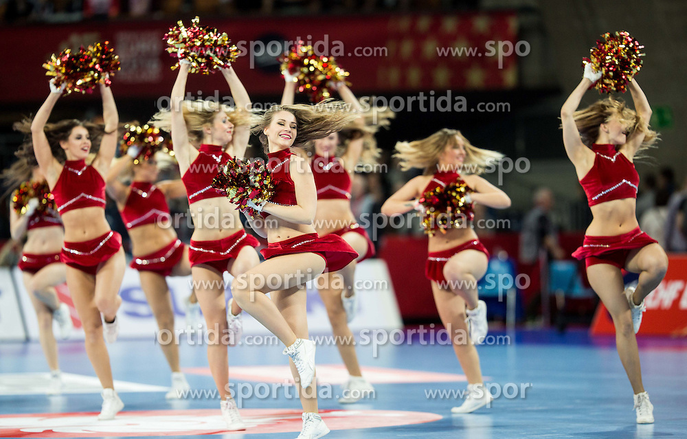 Cheerleaders perform during handball match between National teams of Germany and Slovenia on Day 6 in Preliminary Round of Men's EHF EURO 2016, on January 20, 2016 in Centennial Hall, Wroclaw, Poland. Photo by Vid Ponikvar / Sportida