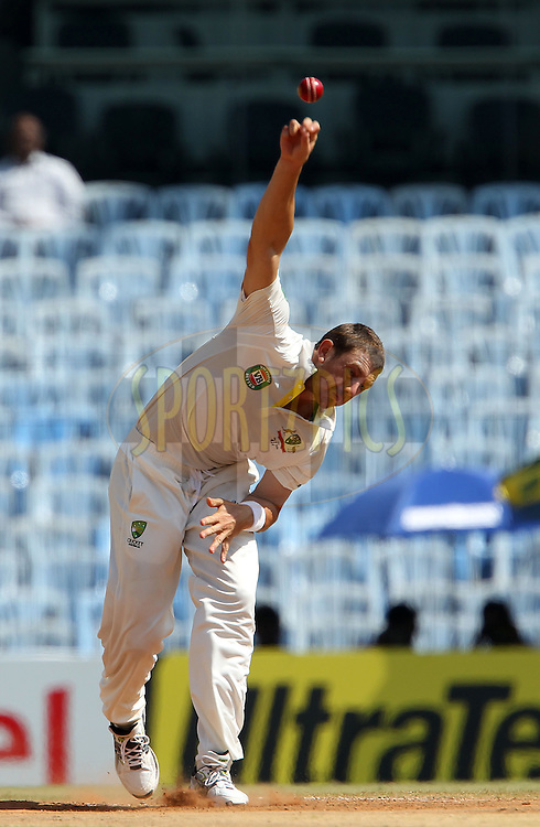 James Pattinson of Australia during day 5 of the 1st Airtel Test match between India and Australia at the M. A. Chidambaram Stadium in Chennai on the 26th February 2013..Photo by Ron Gaunt/BCCI//SPORTZPICS..Use of this image is subject to the terms and conditions as outlined by the BCCI. These terms can be found by following this link:..http://www.sportzpics.co.za/image/I0000SoRagM2cIEc
