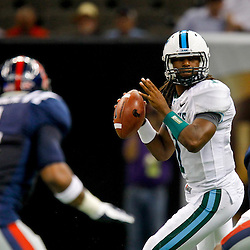 September 22, 2012; New Orleans, LA, USA;  Tulane Green Wave quarterback Devin Powell (1) looks to pass against the Ole Miss Rebels during the second quarter of a game at the Mercedes-Benz Superdome.  Mandatory Credit: Derick E. Hingle-US PRESSWIRE