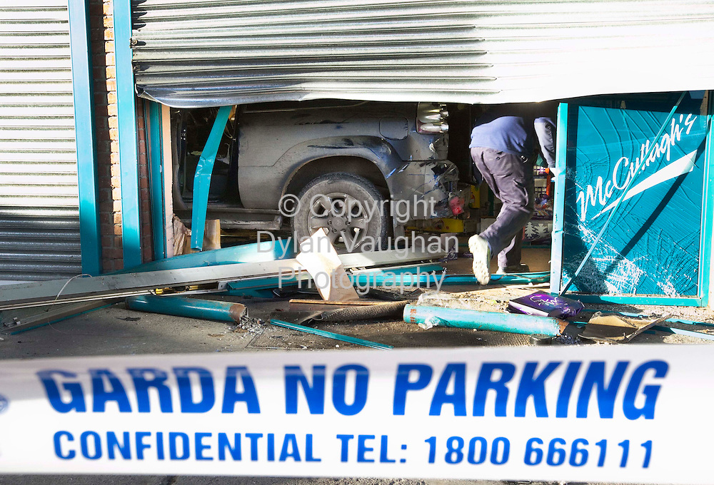 10/12/2008.The scene at McCullaghs garage in Baganelstown County Carlow where the shop was rammed using a jeep during a robbery overnight..Picture Dylan Vaughan.
