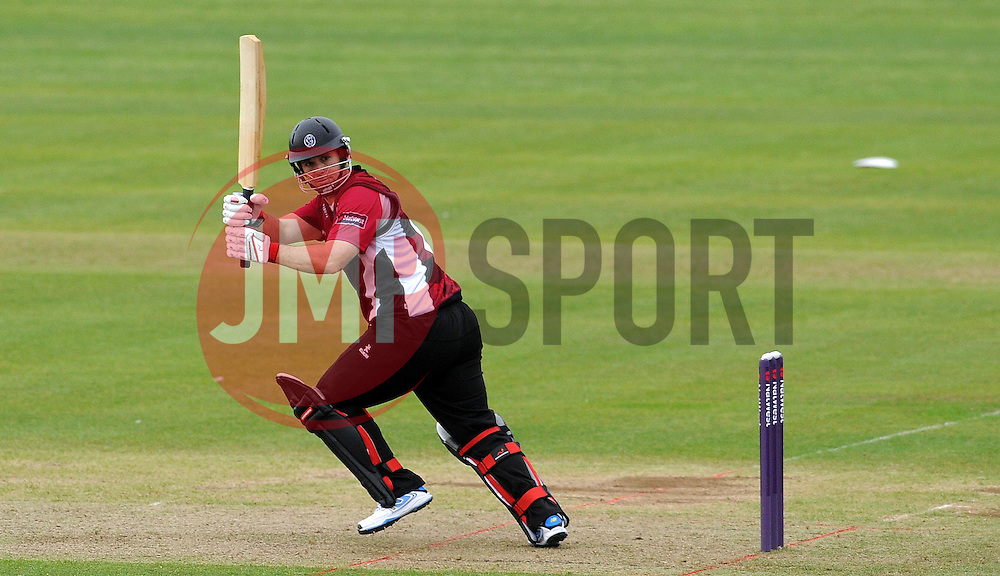 Somerset's Jim Allenby flicks the ball. Photo mandatory by-line: Harry Trump/JMP - Mobile: 07966 386802 - 22/05/15 - SPORT - CRICKET - Natwest T20 Blast - Somerset v Sussex Sharks - The County Ground, Taunton, England.