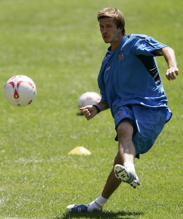 England's soccer player David Beckham works out at Giants stadium in East Rutherford Monday 30 May 2005. England will play Colombia at the stadium on May 31st