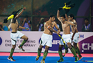 BHUBANESWAR (India) -  Hero Champions Trophy hockey men. Semifinal India vs Pakistan (3-4). Happy Pakistan players after their win. Photo Koen Suyk
