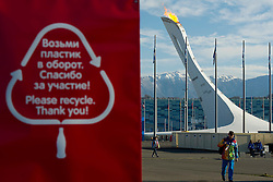 14.02.2014, Olympic Park, Adler, RUS, Sochi, 2014, Feature, im Bild Recycling tafel neben dem Olympischen Feuer // during the Olympic Winter Games Sochi 2014 at the Olympic Park in Adler, Russia on 2014/02/14. EXPA Pictures © 2014, PhotoCredit: EXPA/ Freshfocus/ Urs Lindt<br /> <br /> *****ATTENTION - for AUT, SLO, CRO, SRB, BIH, MAZ only*****