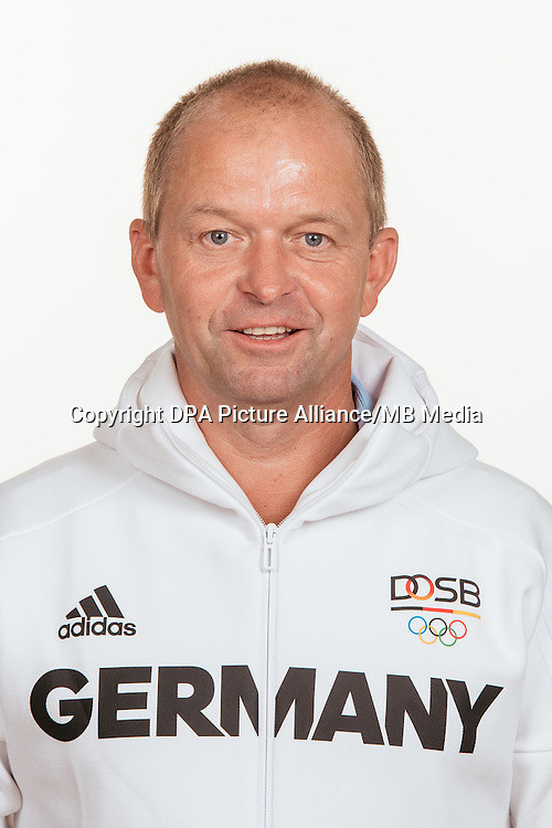 Michael Trummer poses at a photocall during the preparations for the Olympic Games in Rio at the Emmich Cambrai Barracks in Hanover, Germany, taken on 19/07/16 | usage worldwide