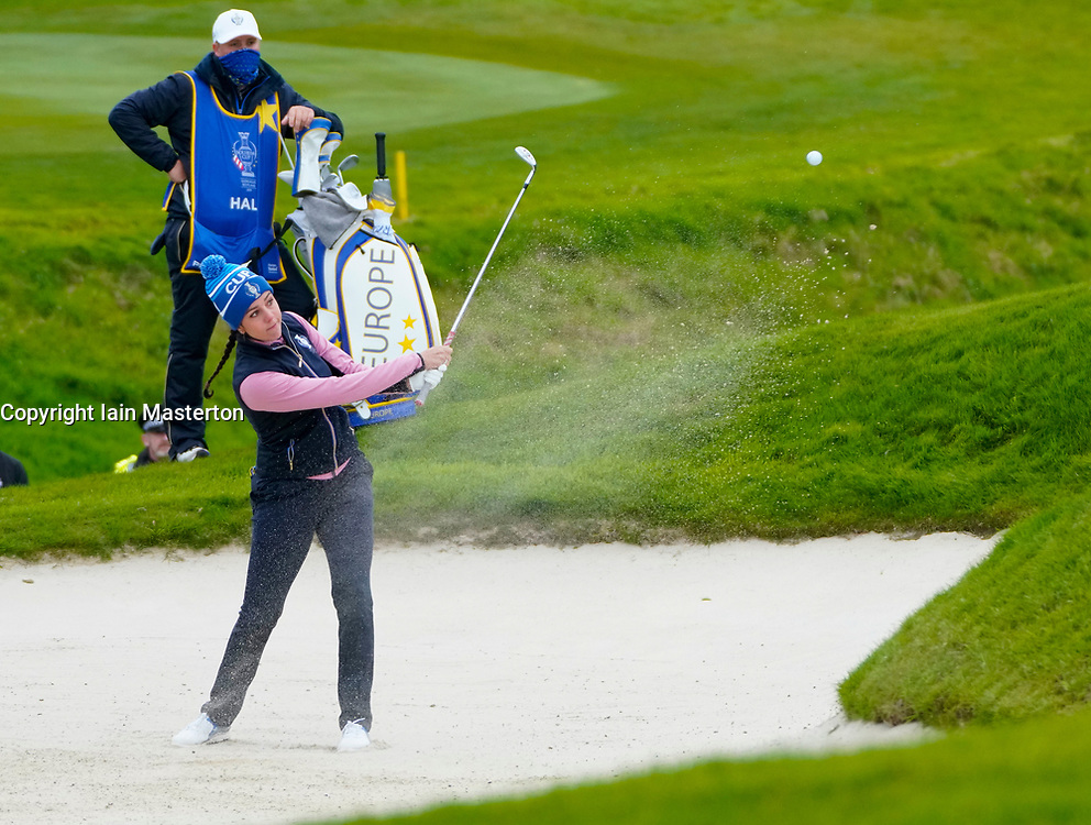 Auchterarder, Scotland, UK. 14 September 2019. Saturday afternoon Fourballs matches  at 2019 Solheim Cup on Centenary Course at Gleneagles. Pictured; Georgia Hall of Team Europe plays bunker shot on the 11th hole. Iain Masterton/Alamy Live News