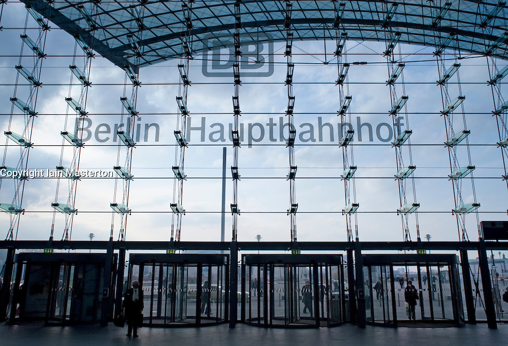 Glass curtain wall at entrance to Berlin Hauptbahnhof railwary tation in Berlin 2009