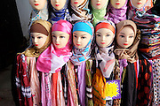 Clothing mannequins with head scarves. Morocco