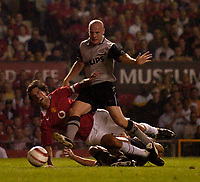 Fotball<br /> Treningskamper England<br /> Foto: SBI/Digitalsport<br /> NORWAY ONLY<br /> <br /> Manchester United v PSV Eindhoven<br /> Vodafone Cup, 03/08/2004.<br /> Manchester United's Ruud van Nistelrooy is felled in the penalty area but no penalty is forthcoming.