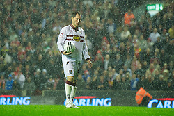 LIVERPOOL, ENGLAND - Wednesday, September 22, 2010: Northampton Town's Steve Guinan steps-up to take a penalty during the shoot-out against Liverpool during the Football League Cup 3rd Round match at Anfield. (Photo by David Rawcliffe/Propaganda)