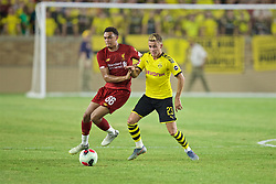 SOUTH BEND, INDIANA, USA - Friday, July 19, 2019: Liverpool's Trent Alexander-Arnold (L) and Borussia Dortmund's Thorgan Hazard during a friendly match between Liverpool FC and Borussia Dortmund at the Notre Dame Stadium on day four of the club's pre-season tour of America. (Pic by David Rawcliffe/Propaganda)