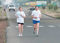 24/11/2013 repro free Ciara Moran from Roscommon and Orla Curran from Galway and taking part in the Great Ethiopian run in Hawassa as opposed to the Capital Addis Ababa due to a security threat, part of a group of 20 from Ireland who ran the race in aid of Self Help Africa. Photo:Andrew Downes