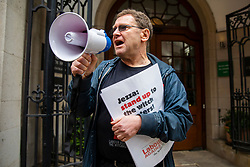 © Licensed to London News Pictures. 25/04/2018. London, UK. Tony Greenstein at a protest outside Church House in Westminster where a disciplinary hearing for alleged antisemitic comments made by activist Marc Wadsworth is taking place. His supporters claim a 'witch hunt' of left-wing activists is taking place within the Labour Party. Photo credit: Rob Pinney/LNP
