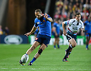 France fly half Frederic Michalak scores the conversion after their first try during the Rugby World Cup 2015 Pool D match (22) between France and Canada at Stadium MK, Milton Keynes, England on 1 October 2015. Photo by David Charbit.
