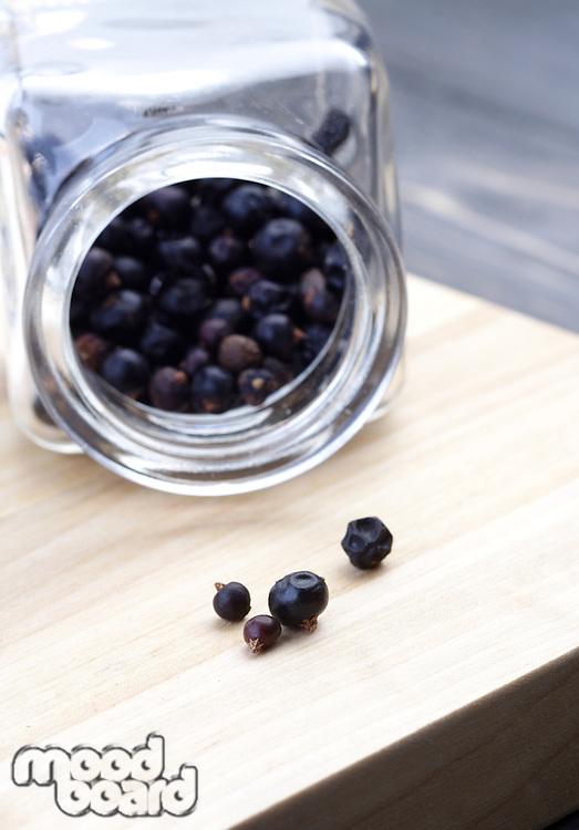 Close up of pepper grains in jar