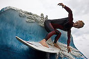 surfing statue at Colac Bay, Southland, New Zealand