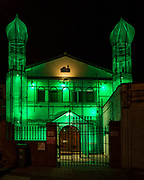 Minarets attached to the front of The Islamic Community Centre in Folkestone, Kent. An art installation made from scaffolding green netting and lights by the Malaysian artist HoyCheong Wong as part fo the 2017 Folkestone Triennial Art show.  (photo by Andrew Aitchison / In pictures via Getty Images)