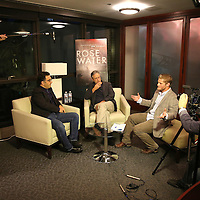 Iranian Canadian journalist Maziar Bahari (L) and Director Jon Stewart  are interviewed by University of California Berkeley Graduate School of Journalism students about the film Rosewater at the Berkeley Repertory Theatre on Tuesday, Oct 21, 2004. (Photo/Alex Menendez/ UC Berkeley Graduate School of Journalism)