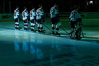 KELOWNA, CANADA - FEBRUARY 23: Kelowna Rockets' starting line up stands on the blue line against the Seattle Thunderbirds  on February 23, 2018 at Prospera Place in Kelowna, British Columbia, Canada.  (Photo by Marissa Baecker/Shoot the Breeze)  *** Local Caption ***