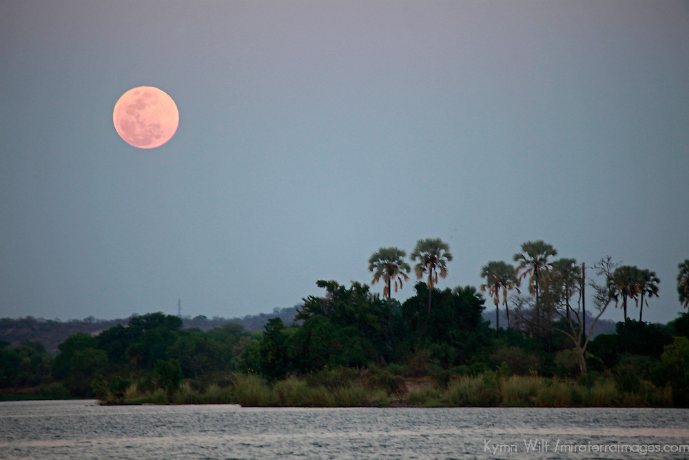 Africa, Zimbabwe, Victoria Falls. Full Moon over the Zambezi River.