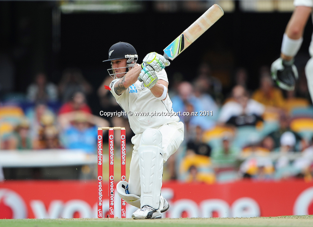 New Zealand opening batsman Brendon McCullum on Day 1 of the first cricket test between Australia and New Zealand at the Gabba in Brisbane, Thursday 1 December 2011. Photo: Andrew Cornaga/Photosport.co.nz