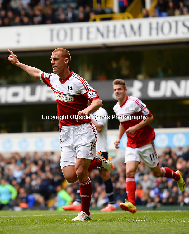 19 April 2014 - Barclays Premier League - Tottenham Hotspur v Fulham - Steve Sidwell of Fulham celebrates scoring the equalising goal - Photo: Marc Atkins / Offside.