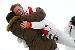 February 14, 2018 - Pyeongchang, South Korea - SHAUN WHITE (USA) celebrates with friend SHAUN MURDOCH after winning gold in the men's snowboarding halfpipe final during the Pyeongchang 2018 Olympic Winter Games at Phoenix Snow Park. (Credit Image: © David McIntyre via ZUMA Wire)