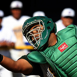 Schurr High School catcher Eric Estrada can't handle a pop-up foul ball by California High School's Kevin Gallardo in the sixth inning of a Division III Wild Card game at California High School May 13, 2008, in Whittier,Calif. (Pasadena Star-News Keith Birmingham)