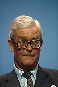 Foreign Secretary and Conservative MP, Douglas Hurd MP at the Conservative party conference on 11th October 1990 in Blackpool, England. Douglas Richard Hurd, Baron Hurd of Westwell, CH, CBE, PC (b1930) is a British Conservative politician who served in the governments of Margaret Thatcher and John Major from 1979 to 1995.