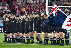 November 1, 2019, Tokyo, Japan: Players sing the national anthem of New Zealand before the Rugby World Cup 2019 Bronze Final between New Zealand and Wales at Tokyo Stadium. New Zealand defeats Wales 40-17. (Credit Image: © Rodrigo Reyes Marin/ZUMA Wire)