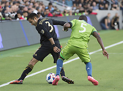 April 29, 2018 - Los Angeles, California, U.S - 29 April 2018, Los Angeles, Ca.,The Los Angeles Football Club (LAFC) beat the Seattle Sounders in the inaugural game at the new Banc of California Stadium. Pictured is LAFC's Steven Beitashour going against Sounders' Nouhou. (Credit Image: © Prensa Internacional via ZUMA Wire)