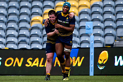 Ben Murphy of Worcester Warriors U18 and Imoesi Ogwemoh of Worcester Warriors U18 celebrate victory over Wasps U18 - Mandatory by-line: Robbie Stephenson/JMP - 28/12/2019 - RUGBY - Sixways Stadium - Worcester, England - Worcester Warriors U18 v Wasps U18 - Premiership U18 Academy