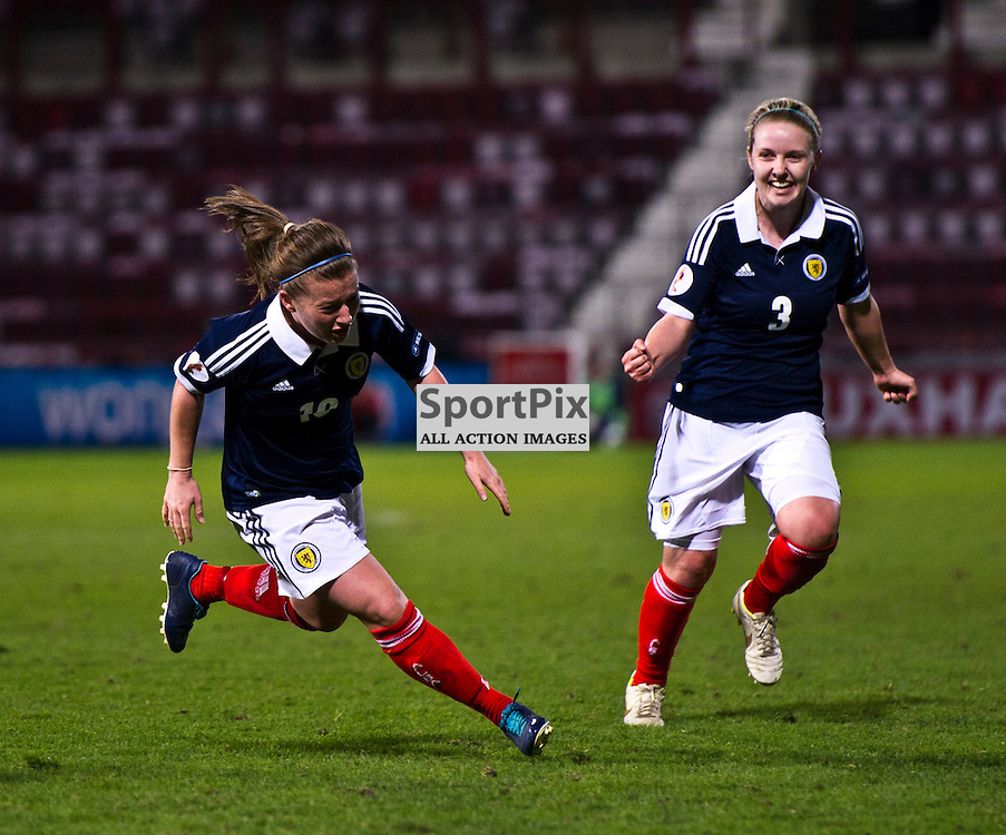 Christie Murray prepares to celebrate her goal with Rachael Small (3). Scotland Women v Republic of Ireland Women, UEFA Women's European Championship 2001/13 Qualifier