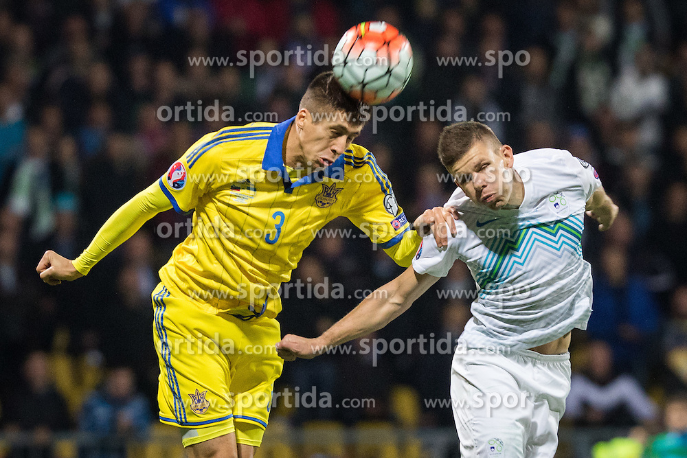 Yevhen Khacheridi (UKR) vs Roman Bezjak (SLO) during the UEFA EURO 2016 Play-off for Final Tournament, Second leg between Slovenia and Ukraine, on November 17, 2015 in Stadium Ljudski vrt, Maribor, Slovenia. Photo by Ziga Zupan / Sportida
