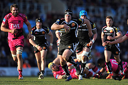 Thomas Waldrom of Exeter Chiefs goes on the attack - Photo mandatory by-line: Patrick Khachfe/JMP - Mobile: 07966 386802 07/03/2015 - SPORT - RUGBY UNION - Exeter - Sandy Park - Exeter Chiefs v London Welsh - Aviva Premiership