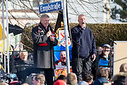 Tony O'Neil has a joke with Mayor of Munich, Dieter Reiter during the ceremony at Manchesterplatz, Munich, Germany. Picture by Phil Duncan.