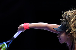 October 22, 2018 - Singapore, Singapore - Naomi Osaka of Japan serves during the match between Naomi Osaka and Sloane Stephens on day 2 of the WTA Finals at the Singapore Indoor Stadium. (Credit Image: © Paul Miller/ZUMA Wire)