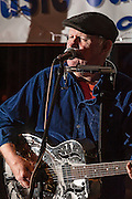 Sherman Lee Dillon, of Wepecket Island Recording performing during the Rolling Roots Revue at The Bus Stop Music Cafe in Pitman, NJ.