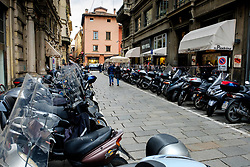 Parked mopeds in Bologna, Italy<br /> <br /> (c) Andrew Wilson | Edinburgh Elite media
