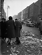 Dublin Corporation Workers Strike - dustbins unemptied and streets unswept .03/02/1958 .
