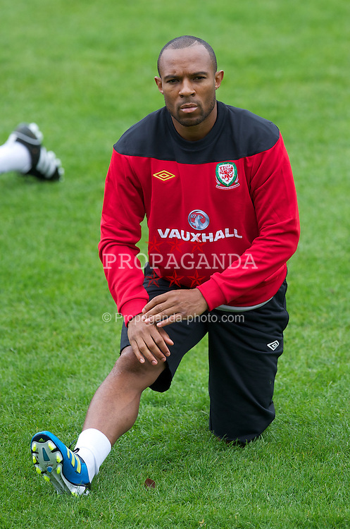 CARDIFF, WALES - Monday, August 8, 2011: Wales' Daniel Gabbidon during training at the Vale of Glamorgan ahead of the International Friendly match against Australia. (Photo by David Rawcliffe/Propaganda)
