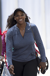 March 21, 2018 - Miami, FL, United States - Miami, FL - March, 21:Serena Williams (USA) is all smiles as she arrives for her warm-up before her match against Naomi Osaka (JPN) at the 2017 Miami Open held at the Tennis Center at Crandon Park.   Credit: Andrew Patron/Zuma Wire (Credit Image: © Andrew Patron via ZUMA Wire)